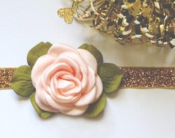 Gold Peach Baby Headband, Newborn Headband, Infant Headband Toddler, Birthday Girl Photo Prop, Satin Rose Flower Leaves, Spring Headband