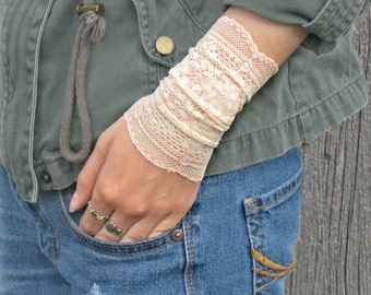 Lace Wrist Cuff, Wide Arm Band, Boho Bracelet, Victorian Wrist Cuff, Girly Gift