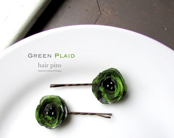 Green Plaid Hair Accessories for Women Green Hair pins Small, 2 Decorative Bobby Pins Woman, Flannel Fabric Flower hair Clips, Hairpins