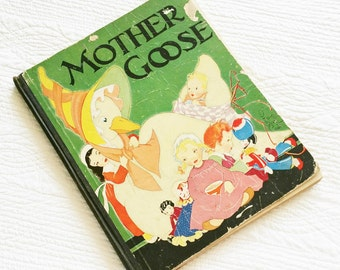 """Vintage """"Mother Goose, Her Best Known Rhymes"""", Signed and Illustrated by Fern Bisel Peat, 1933 Publication, Olives and Doves"""