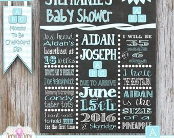 It's a Boy Chalkboard Sign, It's a Boy Chalkboard Poster, Baby Blocks Shower Sign, Baby Shower Chalkboard Poster, Chalkboard Sign Baby Boy