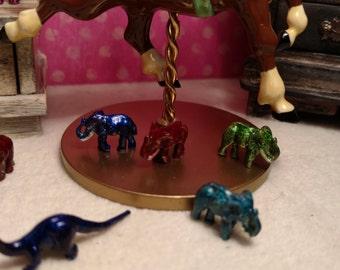 Dollhouse Miniature Green Metal Elephant Item #17395BR