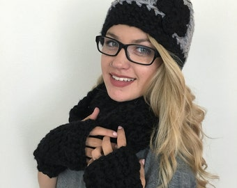 Beanie with Flower - Women's Winter Cap - Chunky Winter Hat - Super Chunky Beanie with Flower - Gifts under 25 - Christmas Gift for Her