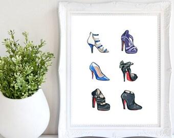 Christian Louboutin Heels Print, Shoe Decor, Fashion Illustration, Shoe Art, Watercolor Print, Fashion Print, Shoe Wall Art, She Decor, Shoe