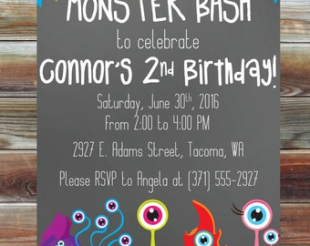 Little Monster Birthday Invitation - Printable Custom 1st 2nd 3rd Birthday Invitation - Monster Bash Theme Birthday Invite - Monster Bday