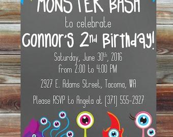 Little Monster Birthday Invitation - Printable Custom 1st 2nd 3rd Birthday Invitation - Monster Bash Theme Birthday Invite - Monster Bday