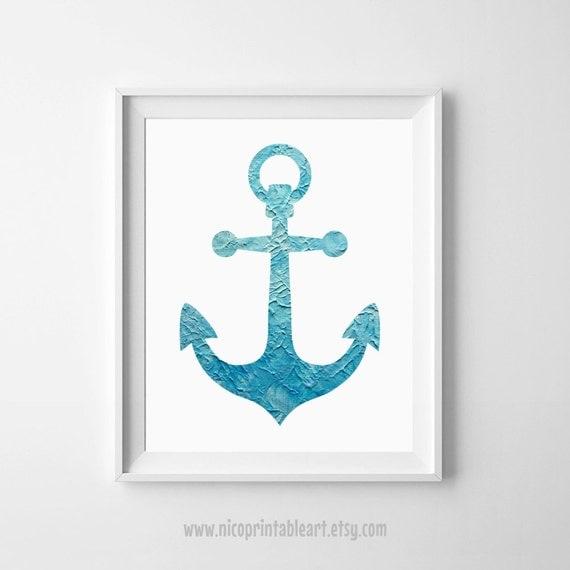 Blue Anchor Wall Decor : Anchor print wall art decor navy blue