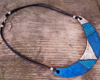 Mosaic Bib Necklace Boho Statement necklace Polymer clay Blue White necklace  Ethnic jewelry Unique necklace Urban jewelry Gift for her