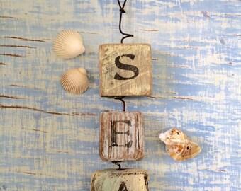 Nautical Wall Decor, Christmas Gift, Sun Catcher, SEA, Wall Hanging, Nautical decor, Beach, Nautical Bathroom, Driftwood Art, Beach House