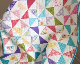Colorful Pinwheels Crib/Toddler Quilt for Girls