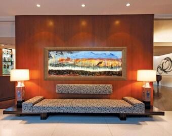 "ORIGINAL ""YELLOW HORIZON ""  - original Acrylic Painting with vintage wood frame   -   44.5"" X 20.5""   - (15-1021)"