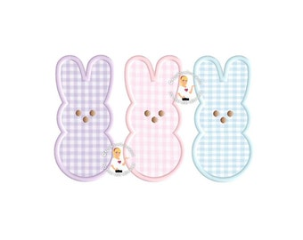 Three Bunnies Applique - Instant EMAIL With Download - for Embroidery Machines