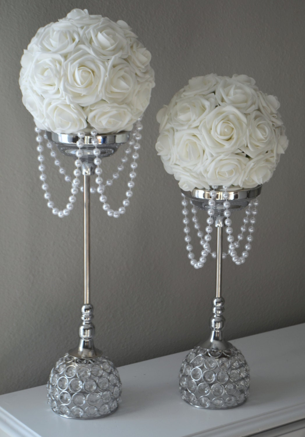 White flower ball with draping pearls wedding decor bridal