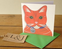 Orange cat card - cat lover gift - greeting card - pet lovers gift - cat lady present - cute cat - cats - funny cat art - cat print