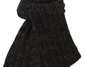 Hand Knit Scarf - Charcoal Grey Cody Trail Ridge Rib Mountain Meadow Wool