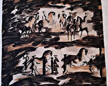 "Vintage Authentic Jeanne Lanvin Castillo Abstract Art Black Brown Silk 30"" Square Scarf"