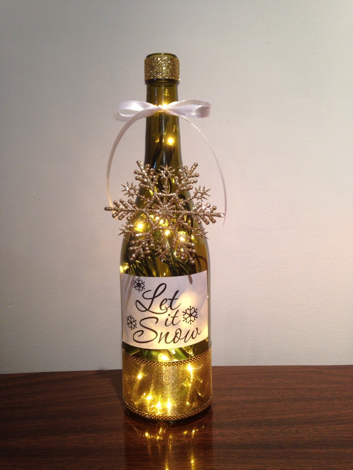 Let it snow wine bottle lamp winter decor night by for Christmas bottle decorations