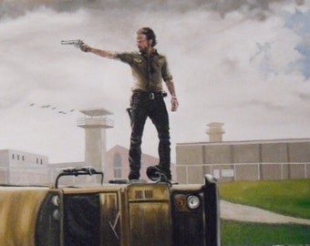 the walking dead season 3 poster painting.