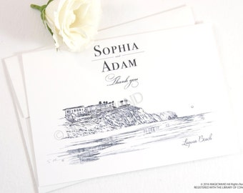Laguna Beach Skyline Wedding Thank You Cards, Personal Note Cards, Bridal Shower Thank you Cards (set of 25 cards)