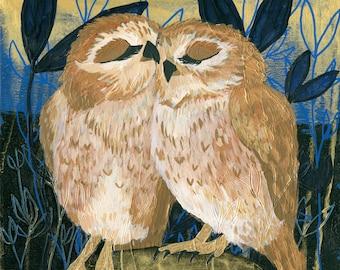 Snuggling Owls - Print - 8 x 8 - Couple Anniversary Engagement Wedding - Wall Art Owl Bird Love Snuggle Cuddle Comfort Sweet - Gold Copper