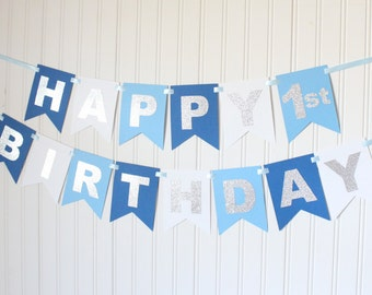 Silver, Blue Ombre Happy 1st Birthday Banner/ Boy Birthday/Prince Party/ Child Birthday/ Party Decoration/ Personalized Name/ Custom