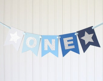 Silver Blue Ombre Navy ONE High Chair Banner Star Happy Birthday Banner/ Boy 1st Birthday/Prince Party/ Party Decorations/first birthday