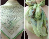 2 Scarf Set: Green Butterflies Floral Geo Silk Scarf, Rockabilly Retro, Spring March, St Patrick, Mother's Day, Add a Charm Scarves SC67WC86