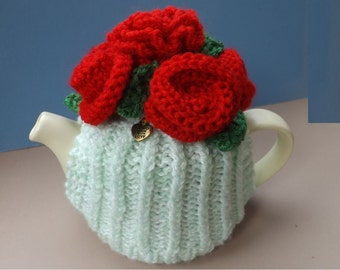 """Roses are Red"""" Tea Cosy. Fits Small 1-2 Cup Teapot. """"I Love You"""" Gift. Mother's Day Gift. Valentines Gift. Hand Knitted Novelty."""