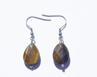 ON SALE Tiger Eye Earrings, Tiger Eye Crystal Earrings, Gemstone Earrings, Tiger Eye, Healing Crystal, Chakra Earrings, Tiger Eye Jewelry, C