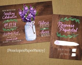 Rustic Spring Wedding Invitations,Mason Jar,Purple Lilac Bouquet,Wood,Simple,Traditional,Printed Invitations,Customizable,Opt RSVP,Envelopes