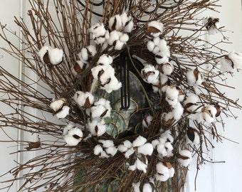 Cotton Twig Wreath, Fall Wreaths, Harvest Decorations, Autumn Wreath