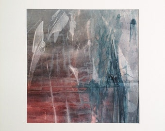 Reeds 3, original painting, abstract landscape, ink and collage on canvas
