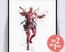BIG SALE: Superhero Deadpool Print, Superhero Art Print, Superhero Poster, Superhero Print, Superhero Art, Superhero Decor, boys Illustratio