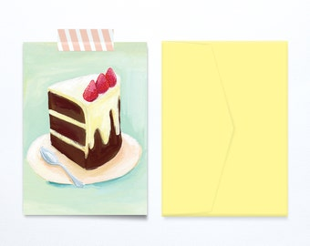 Chocolate cake birthday card illustration janoueve soft vintage