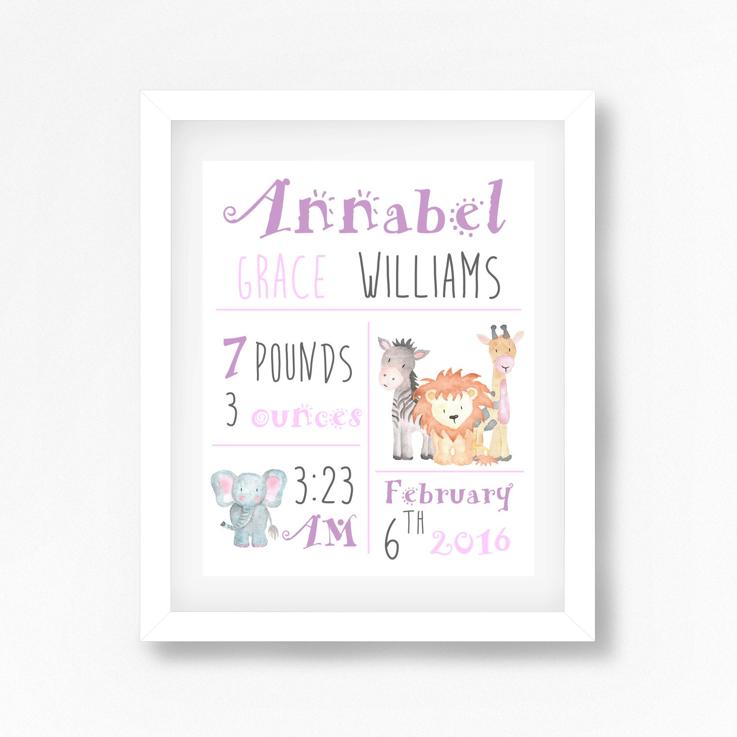 Baby Gift Announcement : New baby girl gift birth announcement wall art personalised