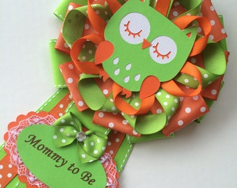 Green and Orange Owl baby shower corsage/Owl Mommy to Be corsage/Owl baby shower