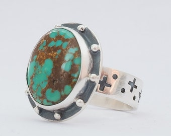 Turquoise Ring, Kingman Turquoise, Modernist Ring, Hand Made Ring, Sterling Silver Ring, Turquoise Jewelry, Southwestern Jewelry