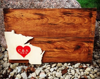 State Wedding Guestbook - Custom Reclaimed Wood Wedding Wall Decor