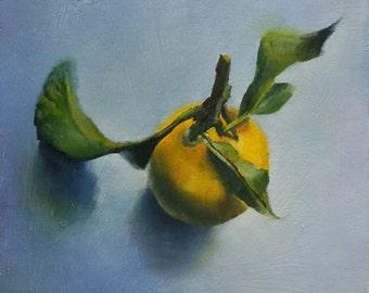Original Small Oil Painting of a Lemon,still life,kitchen art