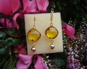 Gold Earrings, gold filled with citrine quartz