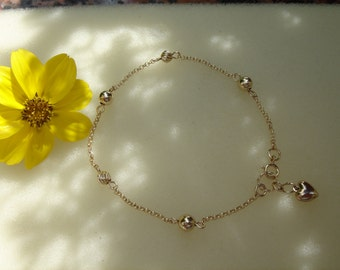 Gold Bracelet with balls and hearts, 585 gold filled