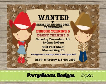 DIY - Cowgirl and Cowboy Childrens Invitations
