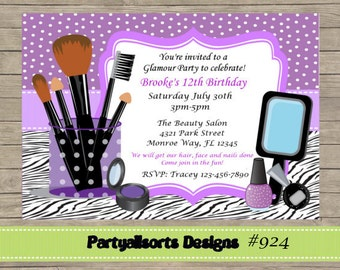 DIY - Glamour/ Pamper/ Make Up/ Diva/ Spa Party Invitations