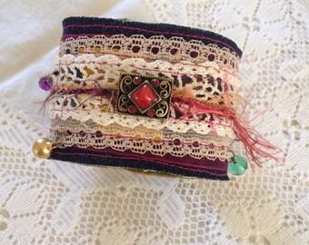 Beaded boho cuff bracelet