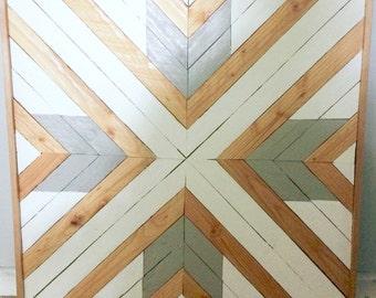 Reclaimed Wood, Wall Art, Geometric, Pattern, Triangle, Lath 24 x 24, Wall Decor