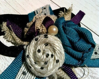 Teal and Plum Burlap Rosette Headband