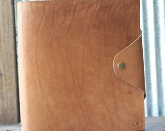 "The Langley - Personalized Fine Leather 3 Ring Binder Notebook Photo Album 1.5"" binder with pocket agenda"