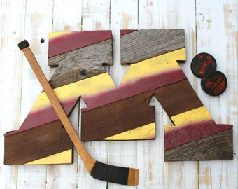 """Reclaimed Wood Art - University of Minnesota Gopher """"M"""" - Maroon and Gold - Golden Gophers - Reclaimed - Old Wood New Art"""
