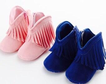 Sweet Moccasin Boho Boots with Fringe Blue & Pink