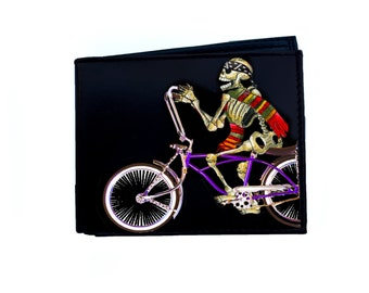 Skeleton on Bicycle Day of the Dead Wallet